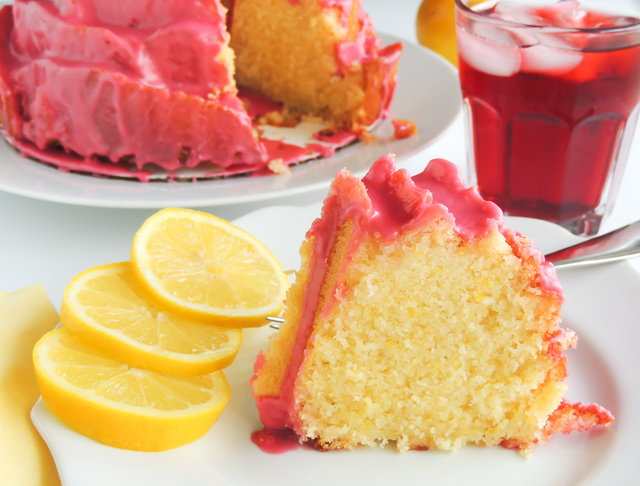 Lemon Bliss Cake With Hibiscus Icing